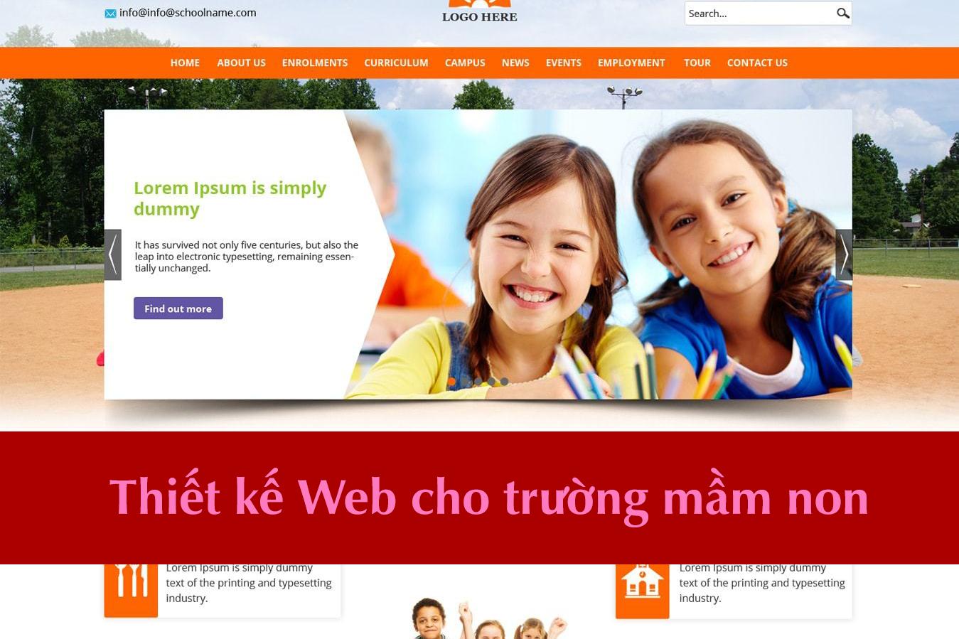 Thiết kế website cho trường mầm non đẹp mắt, chuyên nghiệp, uy tín.